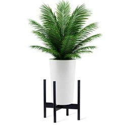 Wood Plant Stand,Mid Century Planter Flower Pot Holder,Assembleable Wooden Shelves Dual Use Display Potted Rack Rustic, Up to 12 Inch Planter (Planter Not Included), Black