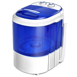 Best Quiet Washer At Amazon, COSTWAY Mini Washing Machine, Portable Washer for Compact Laundry, Small Semi-Automatic Compact Washing Machine with Timer Control Single Translucent Tub 7lbs Capacity(Blue + White)