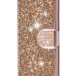 FLYEE iPhone XR Wallet Case, iPhone XR Bling Case, Handcraft Luxury Rhinestone Flip Case Magnetic Crystal Protective Leather with Card Slot for iPhone XR 6.1 inch [Rose Gold]