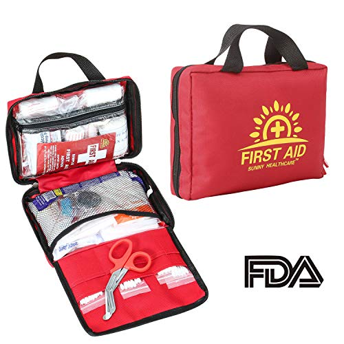 188 Pieces First Aid Kit - All-Purpose with Hospital Grade Medical Supplies for Emergency and Soft Case for Home, Office, Business, Car, Camping and Travel