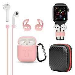 Airpods Case, BZseed Airpods Accessories Set Protective Silicone Cover and Skin Charging Case for Apple Airpod, Silicone Cover/Airpods Strap/Airpods Ear Hook/Hardshell Travel Case/Keychain (Pink)