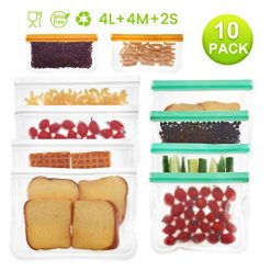 Reusable Food Storage Bags, Godmorn 10 Pack (4 Large Food Bags+4 Sandwich Bags+2 Snacks Bags) Leakproof BPA-Free Reusable Lunch Bags Ziplock Bags, Extra Thick FDA Food Grade Organizer,Freezer Safe