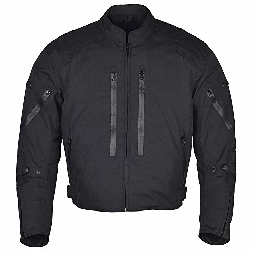 Best Motorcycle Jacket Awesome Protection at Amazon, Men Motorcycle Waterproof Textile Race Jacket CE Protection Black MBJ057 (L)