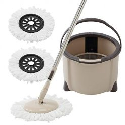 Eyliden Spin Mop Bucket Floor Cleaning System with Extended Adjustable Handle and 2 Microfiber Mop Pads