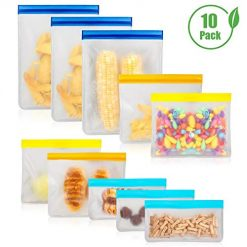 Reusable Food Storage Bags 10 Pack, MOICO 4 FDA Grade PEVA Reusable Sandwich Bags, 3 Reusable Snack Bags for Kids and 3 Large Leakproof Ziplock Freezer Bags for Home Kitchen, Travel & Make Up