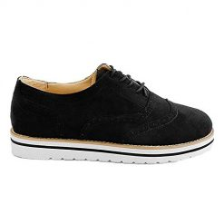 RUNSUN DAILY Oxford Shoes for Women Platform Sneakers Brogue Suede Dress Flat Casual Shoes with Wingtips (Black, US 6)