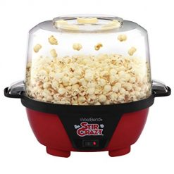 Best Hot Air Popcorn Popper Reviews On Amazon. West Bend 82505 Stir Crazy Electric Hot Oil Popcorn Popper Machine with Stirring Rod Offers Large Lid for Serving Bowl and Convenient Storage, 6-Quart, Red