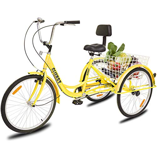 """CLIENSY 24"""" Adult Tricycle, 7-Speed 3 Wheel Bike Trike Cruise Bike w/Large Size Basket for Recreation, Shopping, Exercise (Yellow)"""
