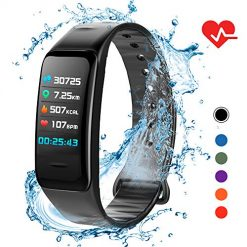 Lixada Fitness Tracker HR,Activity Tracker Watch with Heart Rate Monitor,IP67 Waterproof Smart Fitness Band with Step Counter,Calorie Counter,Sleep Monitoring,Pedometer Watch for Kids Women Men