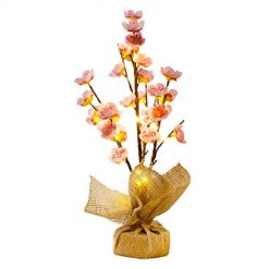 EAMBRITE 1.5FT 20LT Pink Blossom Tree with 20 LED Fairy Lights, Battery Operated Small Pre-lit Tree for Home Decoration