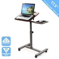 "Best Standing Desks for Laptops. Seville Classics Tilting Sit-Stand Computer Desk Cart with Mouse Pad Table, Height-Adjustable from 27.5"" to 40"" H, Walnut"