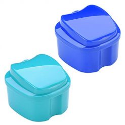 Best Denture Bath With Strainer At Amazon, Beautyflier Pack of 2 Denture Bath Case with Strainer, Retainer Cleaning Box False Teeth Storage Box