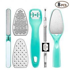 Pedicure Kit Foot File Rasp - Professional Metal Surface Foot Rasp Files Callus Corn Remover Replaceable Foot Scrubber with Nail File Clipper Home Pedicure Kit for Dead Skin Removal (Pack of 8)