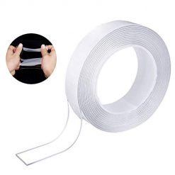 Multipurpose Washable Adhesive Tape - Traceless Clear Double Sided Mounting Tape for Glass, Metal, Kitchen Cabinets Gel Grip Tape (9.85FT)