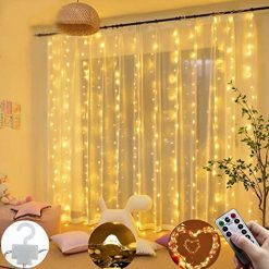 Hevare 300 LEDs Window Curtain Twinkle Star USB Remote Control 8 Modes String Lights Outdoor String Lights
