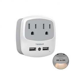 USB Outlet Plug Extender, TESSAN USB Wall Charger Adapter for Travel Cruise Ship Accessories, Mini Phone Charger with Multiple Outlet Splitter