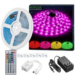 Best Outdoor Led Rope Lights On AMazon. MINGER LED Strip Light Waterproof 16.4ft RGB SMD 5050 LED Rope Lighting Color Changing Full Kit with 44-keys IR Remote Controller, Power Supply Led Strip Lights for Home Kitchen Bed Room Decoration