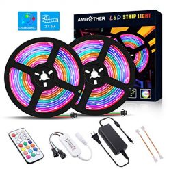 AMBOTHER LED Strip Lights, RGB Multicolor Chasing 10m/32.8ft Changing Rope IR Remote Controller 300 LED SMD 5050 Flexible Tape Lighting Kits for Home Kitchen Party Bedroom Decoration