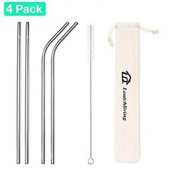 4-Pack Silver Stainless Steel Straws Leatch Living 8.5 Inches Reusable Straws for 20oz 30oz Cocktail Tumbler 2 Straight Straws 2 Bent Straws 1 Cleaning Brush