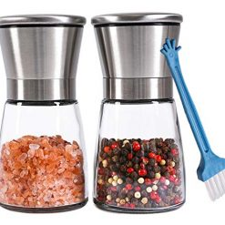 Premium Salt and Pepper Grinder Set of 2 - Refillable Coarseness Adjustable Stainless Steel Salt and Pepper Mill Shakers With Lid 6 OZ Glass Body And Free Cleaning Brush