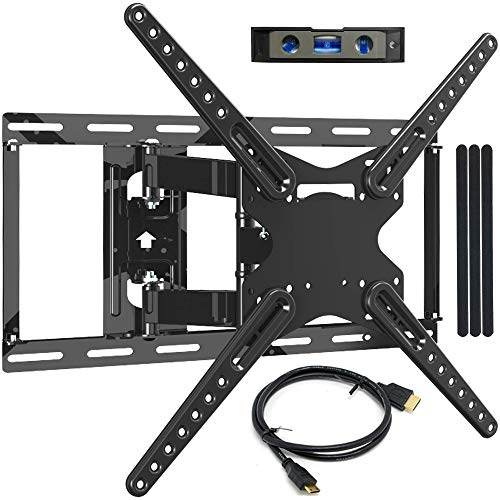JUSTSTONE Full Motion TV Wall Mount Bracket for 28-70 Inch LED LCD Plasma Flat Screen TVs up to 110 Lbs VESA 600x400mm with Articulating Arms, Extend 15.6°, Swivel 180°, Tilt 15° and 3° Level Adjust