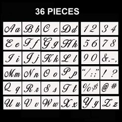 Letter Stencils, 36 Pcs Alphabet Letter Templates for Painting on Wood and Wall, Reusable Plastic Art Craft Stencils with Numbers and Signs