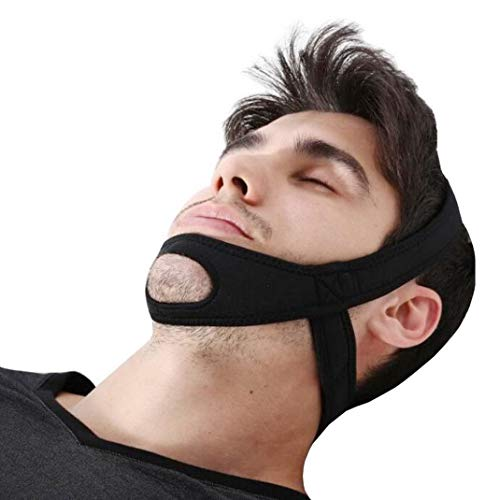 Chin Snoring Strap. Anti-snoring Chin Strap, Stop Snoring Jaw Strap, Effective Stop Snoring, Nature Improve Sleep, Adjustdable Chin Support Strap for Male and Female (Color : Black)