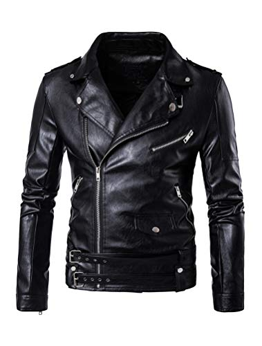 Best jacket for bikers at Amazon, Motorcycle Jackets, Lavnis Men's PU Leather Jacket Causal Belted Faux Leather Motorcycle Jacket Zipper Biker Coat