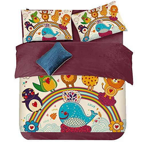 LELVA Whale With a Crown Velvet Bedding Set,Cartoon Animal Duvet Cover Set 4 Pcs,Kids Cartoon Short Plush Coral Velvet Bedding Set Twin Queen King Size (Full)
