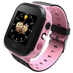 Enow-YL Kids Smart Watch, LBS Tracker for 3-12 Year Old Boys Girls with SOS Call Camera Flashlight Alarm Activity 1.44'' Touch Screen SIM Card Slot Electronic Smartwatch for Android/iOS (Pink)