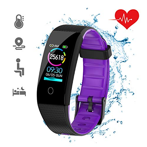 Ftness Tracker With Text Messages, DKSPORT Fitness Tracker HR, Activity Tracker Watch with Heart Rate Monitor, IP68 Water Resistant Smart Bracelet with Sleep Monitor Calorie Counter Pedometer Watch for Kids Women and Men (Purple)