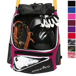 Best Most Rugged Catchers Bag On Amazon. Athletico Baseball Bat Bag - Backpack for Baseball, T-Ball & Softball Equipment & Gear for Youth and Adults | Holds Bat, Helmet, Glove, Shoes |Shoe Compartment & Fence Hook (Maroon)