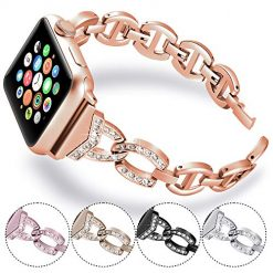 KARBYE Compatible for Apple Watch Band 38mm 40mm Rose Gold for Women, Iwatch Bands 38mm 40mm Womens Rose Gold for Series 5/4/3/2/1, Bling Bracelet Metal Strap Iwatch Replacement Wrist Band (Rose Gold)