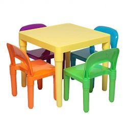 Best Train Table Toddler On Amazon. Goujxcy Kids Table and Chair Set,Plastic Table and Chair for Toddler Activity for Reading, Train, Art Play-Room Fit 3-8 Years Old Little Kid Children Furniture