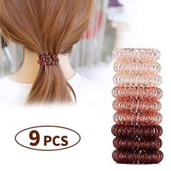Spiral Hair Coils Ties Rings - Traceless Hair Elastics Bands Resilient Ponytail Holders with Strong Grip Durable Hair Accessories for Girls Women Suitable for All Hair Types (Brown-9)