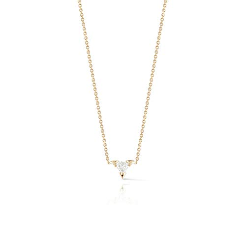Dremmy 14K Gold Plated Cubic Zirconia Necklace,Triangle CZ Necklace Thin Gold Chain Bridesmaids Gift Necklace for Women Girls