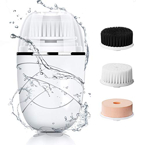 HOCOSY Facial Cleansing Brush, Waterproof Electric Spin Face Cleansing Brush Rechargeable for Deep Cleaning, 3 Brush Heads with 2 Modes, Smart Timer, Exfoliating, Removing Blackhead and Massaging