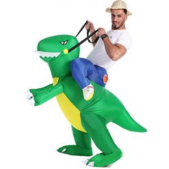 Inflatable Dinosaur T-Rex Costume Fancy Dress Halloween Blow up Costumes Adult/Kids (Green Dinosaur Adult(Fit for150-190CM))