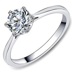 FlameReflection Stainless Steel 1.3 Carat Round Cubic Zirconia Cz Diamonique Engagement Wedding Solitaire Promise Girls Women Bands Rings