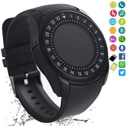 Smartwatch That Sends Texts. FashionLive Smart Watch Bluetooth Smartwatch Touch Screen Camera Pedometer SIM Card Slot Text Call Sync Women Men Kids Phone Mate Compatible with Android iOS Mobile Cell Phones (Black)
