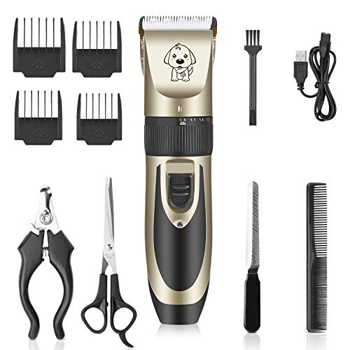 POPOY Pet Dog Electric Hair Clipper Low Noise Cordless Rechargeable Profession Fast Cutting (Gold+Black)