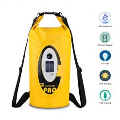 MATOP 20L Waterproof Dry Bag with Bluetooth Speaker and Solar Light, Roll Top Dry Compression Sack Keeps Gear Dry for Kayaking, Beach, Floating, Canoeing, Rafting, Boating, Hiking, Camping and Fishing
