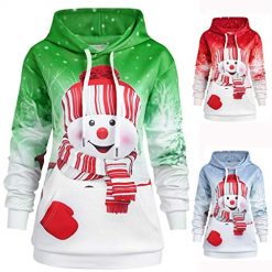 Pongfunsy 2019 Christmas Women Hoodie Sweatshirt Cute Snowman Cartoon Print Pullover Tops Casual Loose Winter Outwear