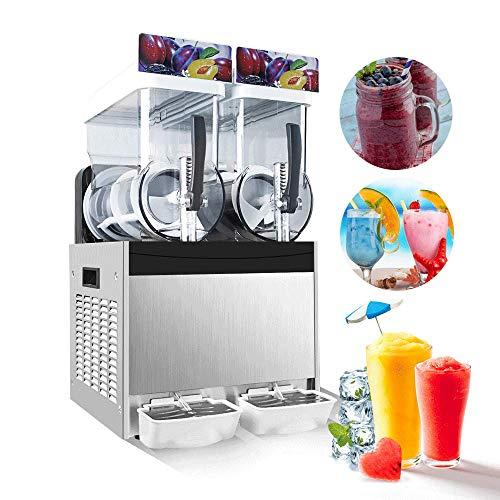 Best Home Slush Machine On Amazon, IRONWALLS 15L x 2 Tank 110V 700W Slush Slushy Machine Dispenser Frozen Drink Machine Margarita Maker for Restaurant Supermarket Cafes Commercial Use