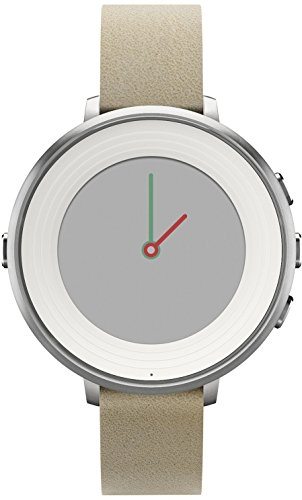 Watches You Can Text On, Pebble Time Round 14mm Smartwatch for Apple/Android Devices - Silver/Stone