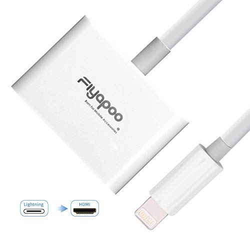FIYAPOO Lighting to HDMI Digital AV Adapter,iPad iPhone to TV,1080P HDTV Converter with Lighting Charging Port for iPhone iPad and iPod