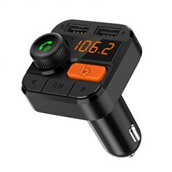 Best Bluetooth Car Adapter At Amazon, Bluetooth FM Transmitter for Car Bluetooth 5.0 Car Adapter Wireless FM Radio Adapter MP3 Music Player with Handsfree Calling and 2 USB Ports Charger