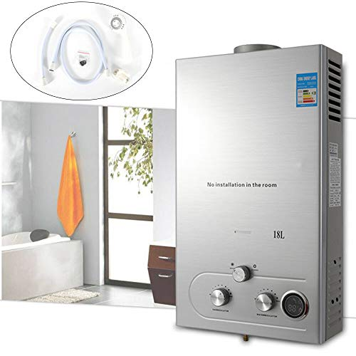 Gas Wall Heaters Reviews, WUPYI 18L Natural Gas Hot Water Heater,36KW Tankless Water Heater Stainless Steel Wall-Mounted Water Heater Instant On Demand Whole House with Shower Head
