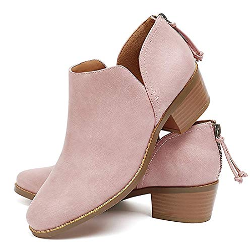 JITUUE Ankle Boots for Women Loafers Slip On Shoes Chunky Block Low Heels Office Pointed Toe Booties with Zipper Tassels Pink 5.5 US