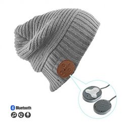 VZ SPORT MATE Bluetooth Hat Beanie Wireless Headphone Cap Rechargeable Bluetooth V5.0 Knit Beanie for Sports Wireless Musical Headset Bluetooth Cap Hands-Free_Grey
